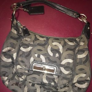 BLACK/GRAY COACH SHOULDER BAG!